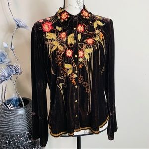 Johnny Was Embroidered Floral Velvet Button Up